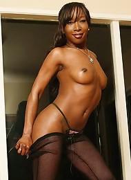 Sexy black beauty riding on big black cock